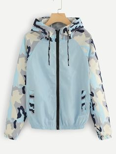 Blue Camouflage Panel Zip Up Hoodie Jacket Swish Long Sleeve Coats And Jackets Fashion Women Spring Autumn Jackets Fall Outfits, Cute Outfits, Fashion Outfits, Womens Fashion, Jackets Fashion, Hooded Bomber Jacket, Hoodie Jacket, Coats For Women, Jackets For Women