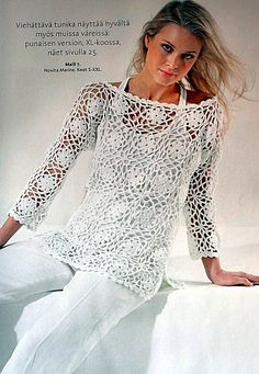 White 3/4 Length Sleeve Openwork Top with Square Flower Motif free crochet graph pattern