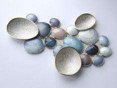 RUTH BALL   Enamel Design, enamel brooch, blue enamel jewelry, art jewelry,