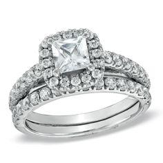 1-3/4 CT. T.W. Princess-Cut Diamond Frame Bridal Set in 14K White Gold
