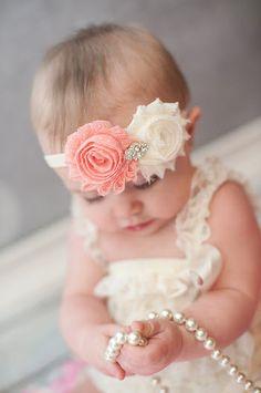 Baby Girl - Baby Girl Headband - Vintage Rosette Headband - Infant Headband - Pink and Ivory - Pink Polka Dot - Newborn Headband via Etsy
