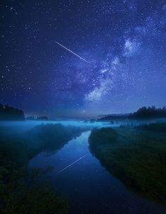 Starry Night, Shooting Star Trail by Mikko Lagerstedt on flickr.com