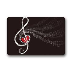 Music Note heart Non-woven Fabric bath mat. Non-slip backing. More music bathroom decor at: http://livelikearockstar.us/?page_id=392