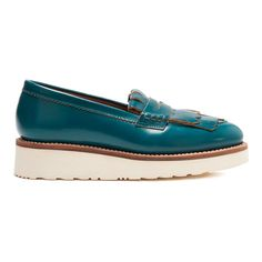 Grenson Women's Juno Leather Frill Loafers - Teal Rub Off (19.400 RUB) ❤ liked on Polyvore featuring shoes, loafers, blue, blue leather loafers, teal blue shoes, chunky loafers, loafer shoes and blue leather shoes