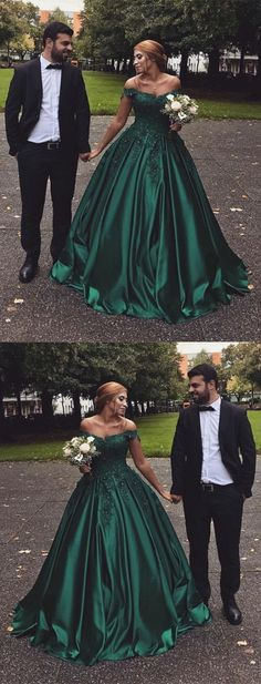 Hunter Green Satin Prom Dress, Ball Gowns Prom Dress, Long Off The Shoulder Party Dress by DRESS, $198.00 USDSexyDresses