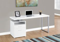 Monarch Specialties Contemporary Computer Desk With Drawers, x x Silver/White Mesa Home Office, Modern Office Desk, Home Office Desks, Home Office Furniture, Office Items, Shelf Furniture, Brown Furniture, Furniture Nyc, Office Table