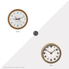 Daily Find: Schoolhouse Tanker Clock in Butterscotch vs. Target Hearth & Hand with Magnolia Wall Clock in Caramel Yellow, schoolhouse clock look for less, copycatchic luxe living for less, budget home decor and design, daily finds, home trends, sales, budget travel and room redos