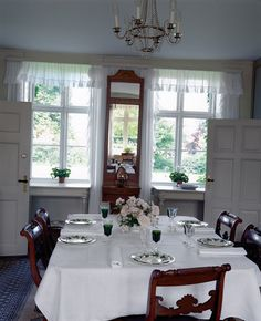 "Karen Blixen's Dining room in Denmark, the furniture in this room, belonging to Blixen's parents, was the basis for the set show in the movie ""Out of Africa"".  Blixen's own set in Africa was a heavy, German-French Renaissance set that was very ornate with high-back chairs."
