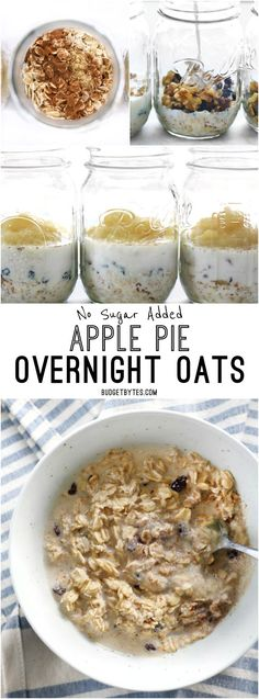 No Sugar Added Apple Pie Overnight Oats are the perfect healthy and delicious make-ahead breakfast for summer. @budgetbytes