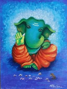 Buy Blue Ganesha Handmade Painting by Shilpa Mathur. - Paintings for Sale online in India. Arte Ganesha, Shri Ganesh, Ganesha Rangoli, Ganesh Lord, Krishna, Ganesha Drawing, Lord Ganesha Paintings, Ganesha Pictures, Ganesh Images