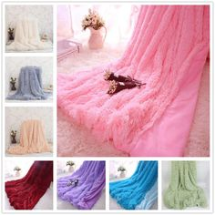 WINLIFE And Super Soft Long Shaggy Fuzzy Fur Faux Fur Warm Elegant Cozy With Fluffy Sherpa Throw Blanket - TakoFashion - Women's Clothing & Fashion online shop Fuzzy Blanket, Faux Fur Blanket, Soft Blankets, Sofa Throw, Minky Fabric, Shaggy, T 4, Warm And Cozy, Chic