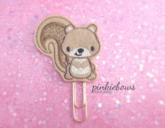 Brown/Squirrel/Felt Applique Paper Clip/Journal Marker/Bookmark/Planner Clip by pinkiebows on Etsy
