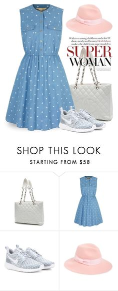 """""""Jan 29th (tfp)"""" by boxthoughts ❤ liked on Polyvore featuring Chanel, Yumi, NIKE, August Hat, women's clothing, women, female, woman, misses and juniors"""