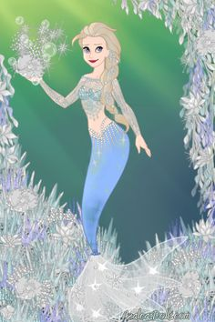 Elsa's underwater ice garden ~ by ToTheMoon ~ created using the Azaleas Dolls doll maker | DollDivine.com