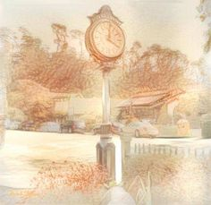 Artistic rendering of Cambria Historical Museum's clock at the corner of Burton Drive and Center Street.  Artist unknown.  Image from the Facebook page of the Cambria Scarecrows.