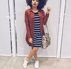 This outfit gave me the idea to wear my cognac suede jacket, navy & white stripe dress, and white sneakers.