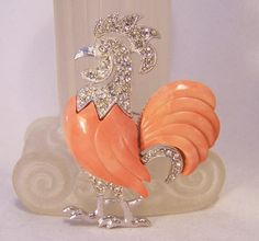 Vintage Hattie Carnegie Rhinestone Rooster Brooch with Coral Lucite Insets 314 on Etsy, $85.29 AUD