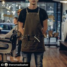 "117 Likes, 55 Comments - Handmade Workwear for Workers (@backyarddenim) on Instagram: ""Second shot from @thenomadbarber. Custom barber aprons in 12oz cotton canvas, with hand finished…"""