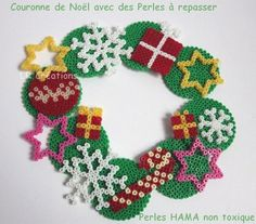 Christmas wreath hama perler by lauri777