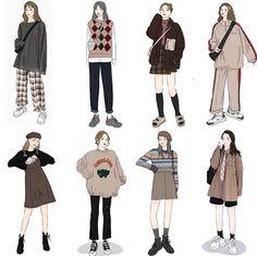 Korean Street Fashion, Korea Fashion, 70s Fashion, Vintage Fashion, Style Fashion, College Fashion, Japan Fashion, French Fashion, Skirt Fashion