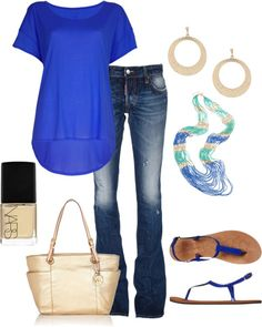Love this outfit!! Cobalt blue is one of my favorite colors & I love it paired with the nude accessories & polish. I really like the shirt too