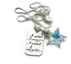 I wish I may hand stamped necklace