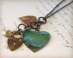 Valentines Day Heart Necklace Vintage by ChristineMarieStudio, $45.00