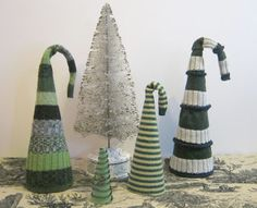 Sweater Surgery: Recycled Sweater Christmas trees...or hats? Inspired by Nicky Epstein's Knitting Block by Block