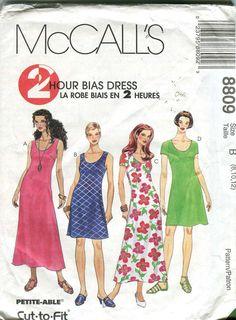 McCall's 8809 - 2 hour Dress pattern - UNCUT Size C 10-14