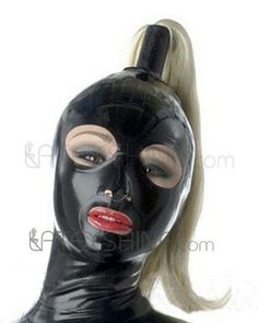 Full Cover Latex Hood with Hollow Braid Tube Can Customize Blond Wig Rubber Mask