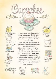 Illustrated Recipe by Bec Winnel - Cupcakes Old Recipes, Vintage Recipes, Sweet Recipes, Cooking Recipes, Recipies, Cupcake Recipes, Cupcake Cakes, Recipe Drawing, Cupcake Heaven