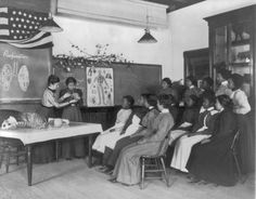 American Indian and African American students at Hampton Institute, women studying human respiratory system, 1899