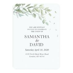 Modern Simple Green Leaf Elegant Wedding Invitation with Watercolor Greenery Watercolor Wedding Invitations, Elegant Wedding Invitations, Green Leaves, Weddingideas, Greenery, The Creator, Place Card Holders, Simple, Modern