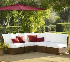 Rattan garden furniture garden lounge red accents