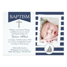 Shop Faux silver Nautical Baptism Invitation created by Sugar_Puff_Kids. Personalize it with photos & text or purchase as is! Baptism Invitation For Boys, Christening Invitations Boy, Boy Christening, Boy Baptism, Nautical Baptism, Nautical Theme, Nautical Invitations, Zazzle Invitations, Personalized Invitations