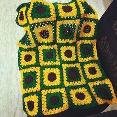 Sunflower theme crochet  blanket