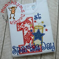 Firecracker Number One Applique by MunchkymsDesign on Etsy