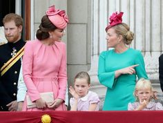 Prince Harry, Catherine Duchess of Cambridge, Autumn Phillips, Lyla Gilman ( daughter of Lady Rose Windsor Gilman ) Isla Phillips at  Buckingham Palace after Trooping of the Colour. June 17 2017.