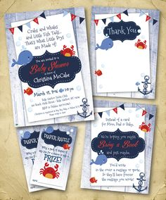 Nautical Whale & Crab Theme Baby Shower Invitation Package (Invite, Thank You, Bring Book Insert Card, Diaper Raffle Ticket) ... Designs by Lea ... (sea animal graphics by PixelPaperPrints - Etsy.com)  ;-) ... please contact me at lea@copyexpresslex.com if interested in ordering...