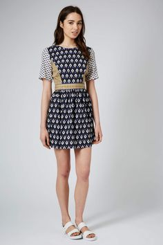 Topshop Womens Mix Tile Print Tea Dress Navy Blue in Blue (NAVY BLUE) | Lyst