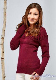 Бордовый свитер спицами простой вязки