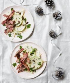 roasted ham hock with celeriac, apple, raisin and parsley salad