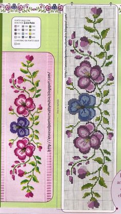 Cross stitch violet flowers paternt