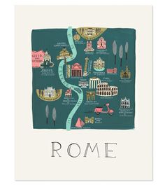 Rome Print  llustrated Rome art print created from an original gouache painting by Anna Bond. Printed on natural white wove paper. 11x14 $40