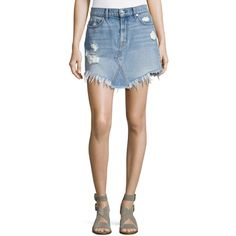 7 For All Mankind Distressed Mini Skirt W/ Scallop Raw-Hem (€170) ❤ liked on Polyvore featuring skirts, mini skirts, white, short skirts, slimming skirts, asymmetrical skirt, short mini skirts and button skirt