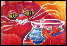 Carolines Treasures Big Red Cat at the Fishbowl Indoor or Outdoor Doormat 18 x 27 Multicolor -- You can get additional details at the image link.