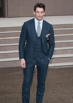 British Icon David Gandy often wears stylish suits and we honour his style with our top 10 list of 3 piece suits. Great for weddings and business alike