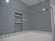 For master  Our Lush 3x6  glass subway tile in Fog Bank grey. www.modwalls.com