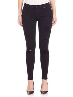 7 FOR ALL MANKIND Destructed Ankle Slim Illusion Skinny Jeans. #7forallmankind #cloth #jeans