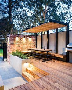 Backyard Pergola Ideas | Apartment Therapy Pergola Garden, Deck With Pergola, Outdoor Pergola, Backyard Pergola, Deck Patio, Pergola Roof, Flagstone Patio, Patio Stone, Cheap Pergola